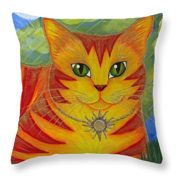 Throw Pillow featuring the painting Rajah Golden Sun Cat by Carrie Hawks