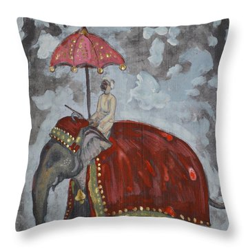 Rajasthani Elephant Throw Pillow