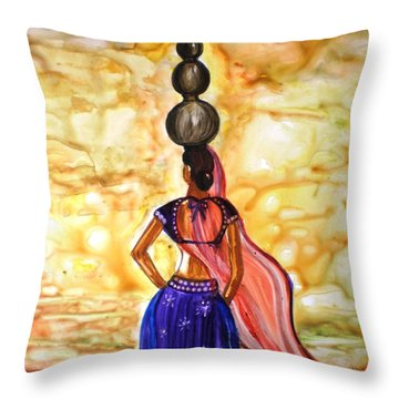 Rajasthani Lady-allure Throw Pillow