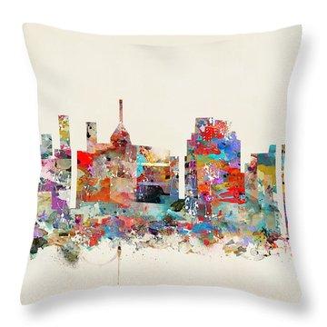 Raleigh Skyline Throw Pillows Fine Art America