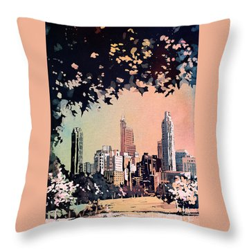 Throw Pillow featuring the painting Raleigh Skyline V by Ryan Fox