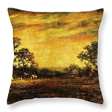 Ralph Blakelock, Indian Encampment Throw Pillow