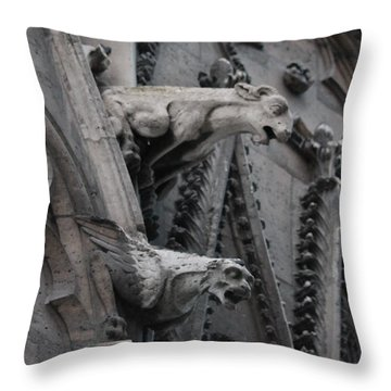Throw Pillow featuring the photograph Ram And Eagle Griffon Notre Dame by Christopher Kirby