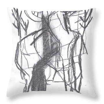 Ram In A Forest Throw Pillow