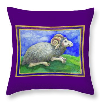 Throw Pillow featuring the painting Ram by Lora Serra