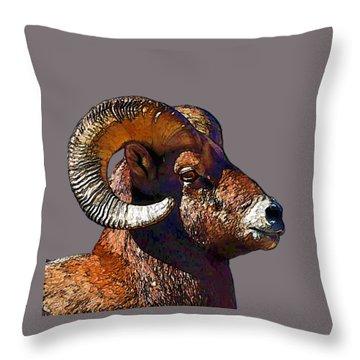 Throw Pillow featuring the digital art  Ram Portrait - Rocky Mountain Bighorn Sheep By Olena Art by OLena Art Brand