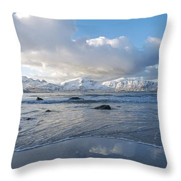 Ramberg Beach, Lofoten Nordland Throw Pillow