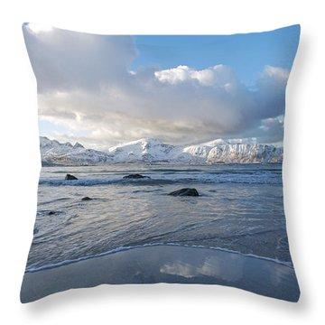 Ramberg Beach, Lofoten Nordland Throw Pillow by Dubi Roman
