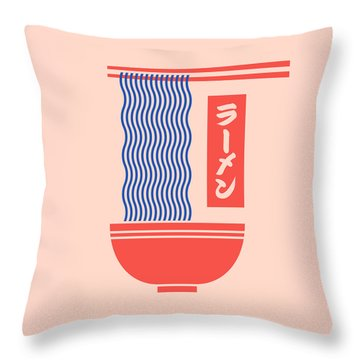 Ramen Japanese Food Noodle Bowl Chopsticks - Salmon Throw Pillow