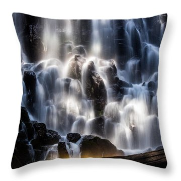 Ramona Falls With Rainbow Throw Pillow by Patricia Babbitt
