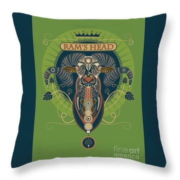Rams Head Throw Pillow