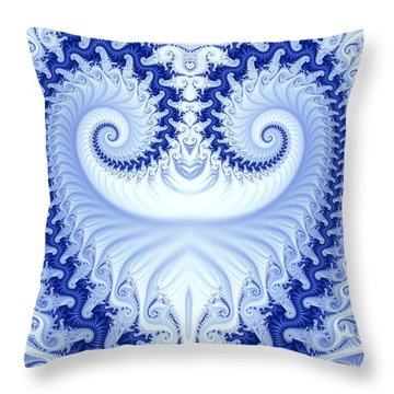 Ram's Horn Blue Throw Pillow