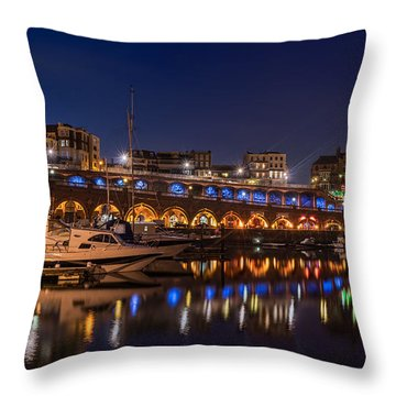 Ramsgate Marina At Night Throw Pillow