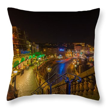 Ramsgate West Cliff Arcade Restaurants At Night  Throw Pillow