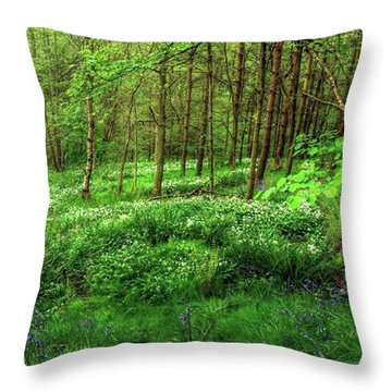 Ramsons And Bluebells, Bentley Woods Throw Pillow by John Edwards