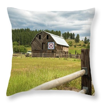 Ranch Fence And Barn With Hex Sign Throw Pillow