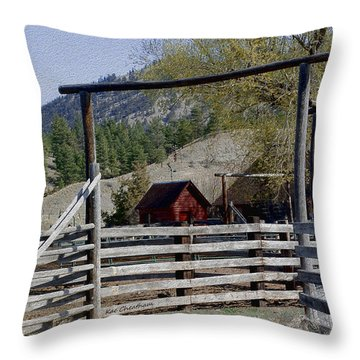 Ranch Fencing And Tool Shed Throw Pillow