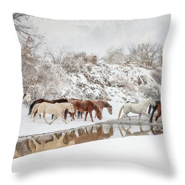 Ranch Horse Winter Throw Pillow