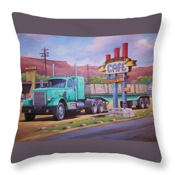 Ranch House Truckstop. Throw Pillow by Mike Jeffries