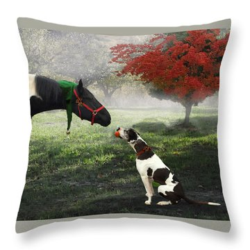 Throw Pillow featuring the photograph Ranch Pals by Melinda Hughes-Berland
