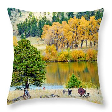 Ranch Pond In Autumn Throw Pillow
