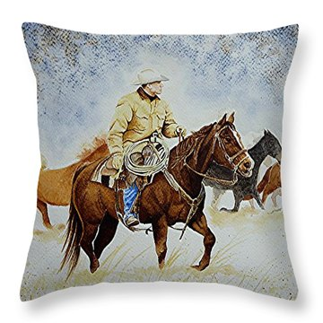 Ranch Rider Throw Pillow by Jimmy Smith