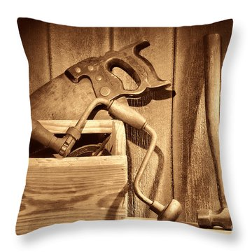 Ranch Tools  Throw Pillow by American West Legend By Olivier Le Queinec