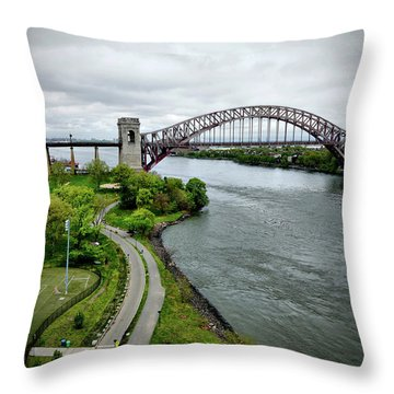 Randall's Island To Hellgate Throw Pillow