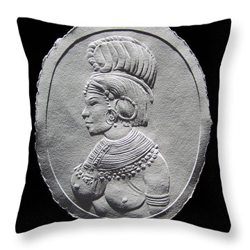 Randille Tribe Woman Relief Drawing Throw Pillow