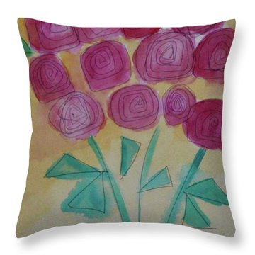 Throw Pillow featuring the painting Randi's Roses by Kim Nelson
