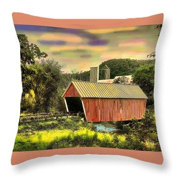 Randolf Covered Bridge Throw Pillow