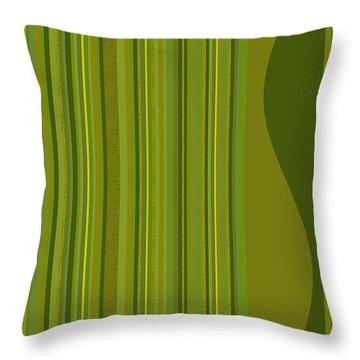 Random Stripes - Golden Green Throw Pillow