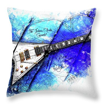 Randy's Guitar On Blue II Throw Pillow by Gary Bodnar