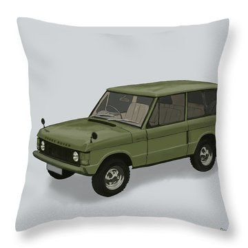 Throw Pillow featuring the mixed media Range Rover Classical 1970 by TortureLord Art