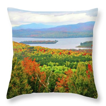 Rangeley Lake And Rangeley Plantation Throw Pillow by Mike Breau