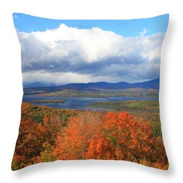 Rangeley Lake Autumn View Throw Pillow