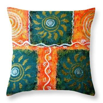 Rangoli Abstract Painting Throw Pillow