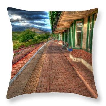Rannoch Station Platform Throw Pillow by Chris Thaxter