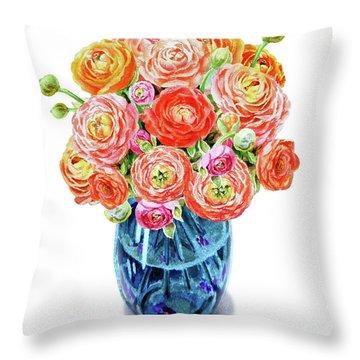 Ranunculus Bouquet Blue Vase Watercolor Throw Pillow