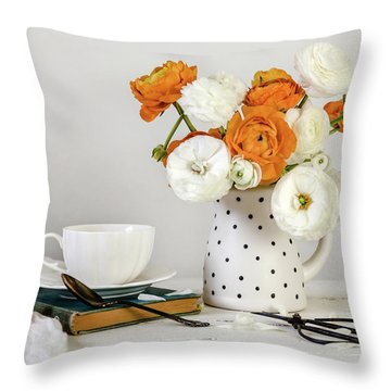 Throw Pillow featuring the photograph Ranunculus Bouquet by Kim Hojnacki