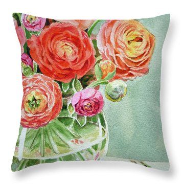 Ranunculus In The Glass Vase Throw Pillow