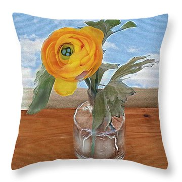 Throw Pillow featuring the digital art Ranunculus Spring by Alexis Rotella
