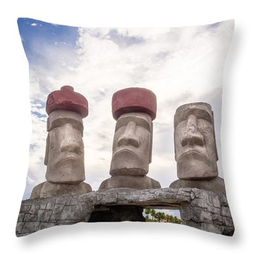 Rapa Nui Stone Heads Throw Pillow