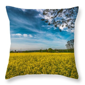 Rapeseed Field Throw Pillow