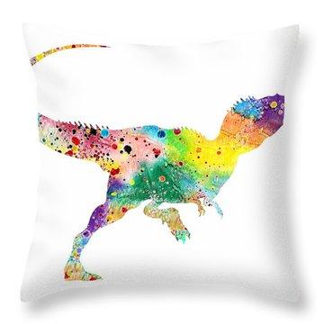 Raptor 2 Dinosaur Watercolor Throw Pillow