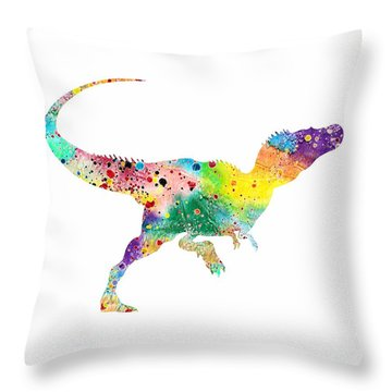 Raptor 2 Dinosaur Watercolor Throw Pillow by Svetla Tancheva