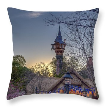 Rapunzel's Tower At Sunset Throw Pillow
