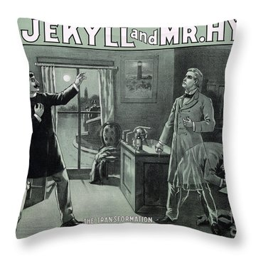 Rare Dr. Jekyll And Mr. Hyde Transformation Poster Throw Pillow