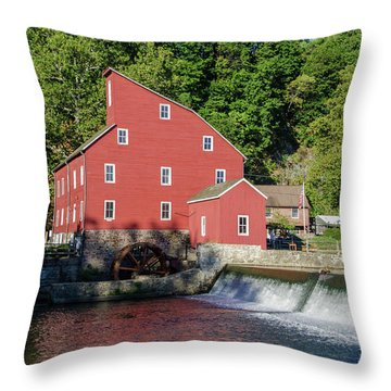 Rariton River And The Red Mill - Clinton New Jersey Throw Pillow by Bill Cannon