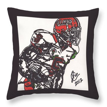 Throw Pillow featuring the drawing Rashard Mendenhall 1 by Jeremiah Colley